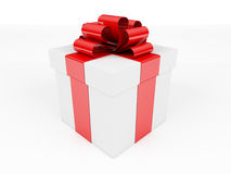 White box, bow and ribbon. 3d image Stock Photos