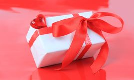 White box, bow, and ribbon for Valentine's Day Stock Photos