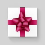 White Box with Burgundy Ribbon Bow on Background. Vector White Square Gift Box with Shiny Magenta Dark Pink  Burgundy Ribbon Bow Close up Top view  on Background Stock Images