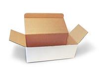 White box, cardboard. Isolated on white background Royalty Free Stock Photo
