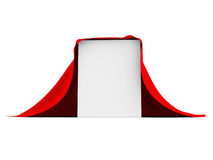 White box covered with red cloth Stock Photo