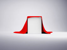White box covered with red cloth Royalty Free Stock Image