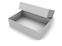 White box. 3d illustration of white empty box, over white background Stock Image