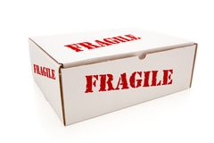 White Box with Fragile on Sides Isolated Stock Photo