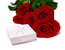 White box for gifts and rose Royalty Free Stock Image