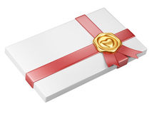 White box with gold sealing wax and red ribbon Stock Photos