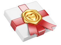 White box with gold sealing wax and red ribbon Royalty Free Stock Photo