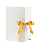 White box with golden bow Royalty Free Stock Photos