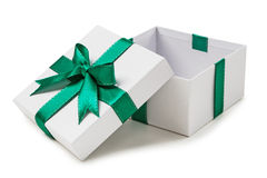 White box, green bow and ribbon isolated on white Royalty Free Stock Images