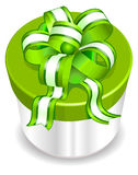 White box with green ribbon Royalty Free Stock Image