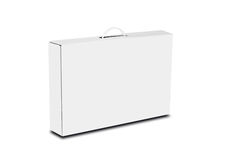 White box with a handle. Packing box for laptop. Isolated on white stock photo