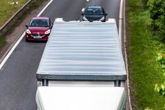 White box lorry truck on uk motorway in fast motion overhead view.  stock photo