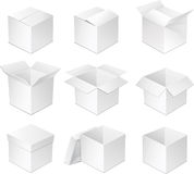 White box. Open and closed white cardboard boxes Stock Photos