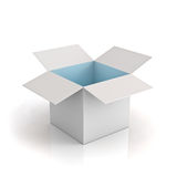 White box open with cyan light Stock Images