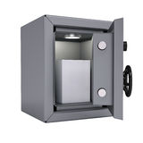 White box in an open metal safe Stock Photo