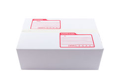 The white box for packaging with shipping. The isolated of the white box for packaging with shipping from post office Stock Photos
