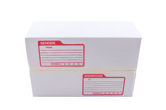 The white box for packaging with shipping. The isolated of the white box for packaging with shipping from post office Stock Photography