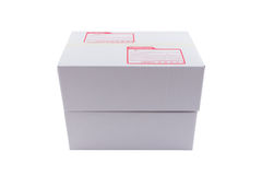 The white box for packaging with shipping. The isolated of the white box for packaging with shipping from post office Royalty Free Stock Images