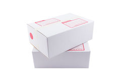 The white box for packaging with shipping. The isolated of the white box for packaging with shipping from post office Stock Image