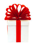 White box packed red bow Royalty Free Stock Photography