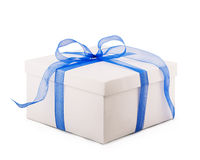 White box packing paper blue bow ribbon Royalty Free Stock Photography