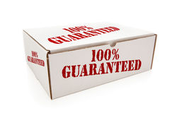 White Box with 100% Guaranteed on Sides Isolated Royalty Free Stock Photos