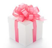 Box with pink ribbon Royalty Free Stock Photo