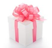 Box with pink ribbon Royalty Free Stock Photo