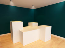 White box POS Display stand in blue wall room with wooden floor Stock Photos