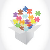 White box and puzzle pieces illustration Stock Photography