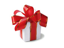 White box with red bow Royalty Free Stock Photography
