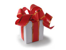 White box with red bow Stock Image