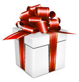White box with red bow. Royalty Free Stock Image