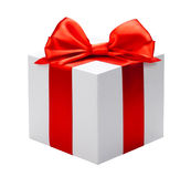 White box red bow and ribbon Stock Images