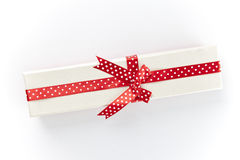 The white box with a red ribbon and bow  Stock Photo