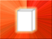 White Box Red Star. White product box with red and orange star background royalty free illustration