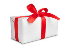 White box with a ribbon Royalty Free Stock Images