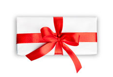 White box with a ribbon Royalty Free Stock Photo