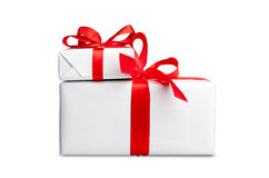 White box with a ribbon Stock Image