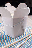 White box with rice from chinese takeout Royalty Free Stock Photo