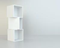White box shelves. 3d rendering on background room Stock Photo
