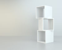 White box shelves. 3d rendering on background room Royalty Free Stock Photography