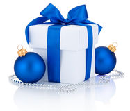 White box tied blue ribbon bow and two Christmas balls Isolated Royalty Free Stock Photography