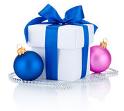 White box tied ribbon bow, blue and pink Christmas balls Isolated Stock Photo