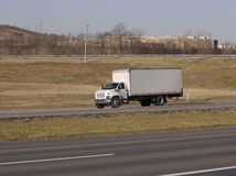 White Box Truck. On the highway Stock Images