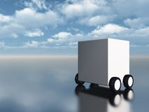 White box on wheels Royalty Free Stock Images