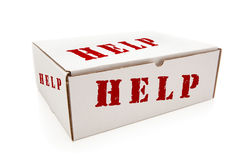 White Box with Help on Sides Isolated Stock Photography