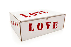 White Box with Love on Sides Isolated Royalty Free Stock Image