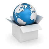 White Box and World Map Royalty Free Stock Image