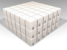 White boxes. 3D render of lots of white packaging boxes Stock Photo